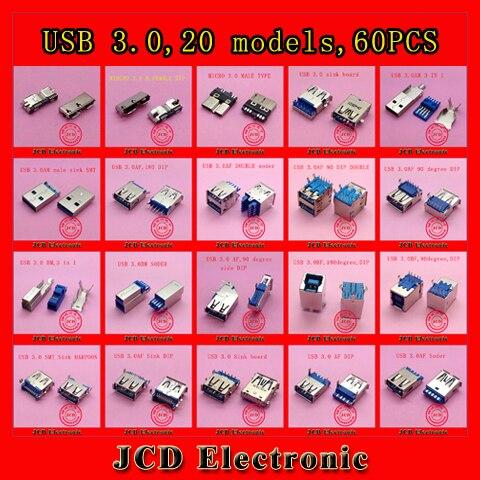 60pcs/lot Micro USB 3.0 connector female/Male jack USB socket 90degree 180degree for laptop U disk printer 9pin