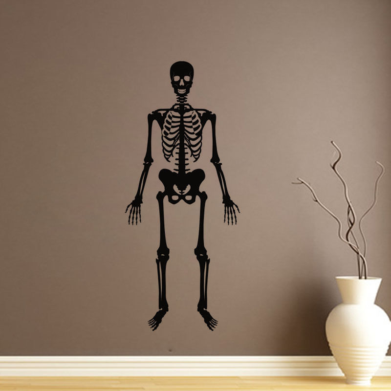 Dsu removable wall sticker skeletons skeleton home decor vinyl art wall decal boys room living room wall mural fashion paper in wall stickers from home