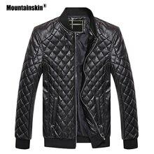Mountainskin Новый Для Мужчин's Кожаные куртки стоять воротник мотоцикл PU пальто Slim Fit Для мужчин s брендовая одежда зимняя мужская верхняя одежда SA570