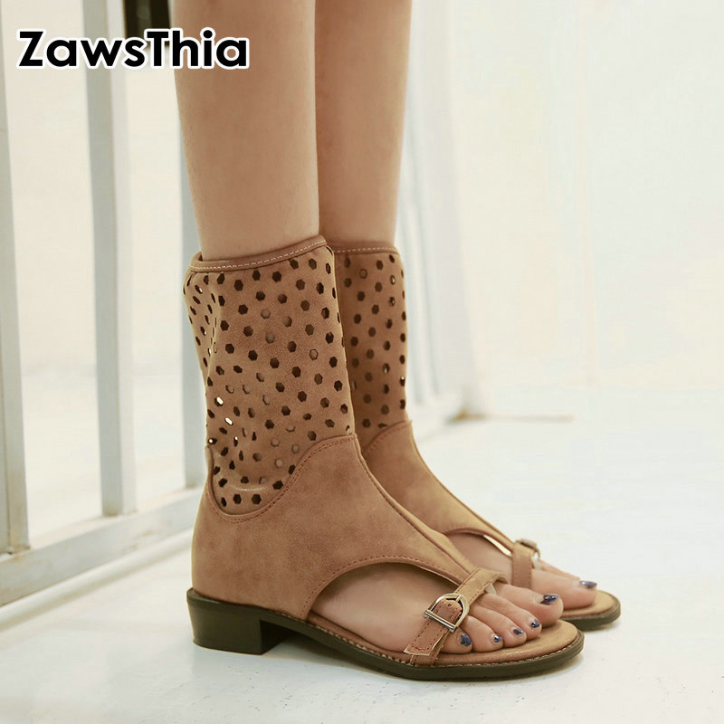 ZawsThia 2019 summer woman shoes open toe casual flats female shoes buckle cut out hallow breathable women ankle boots sandals
