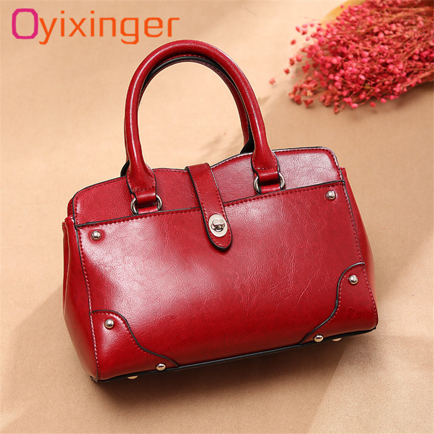 Oyixinger Women Designer Oil Wax Leather Vogue Shoulder Bag Luxury Retro Tote Handbags For Female Bags 2018 New Crossbody Bags fashion women genuine leather handbags large capacity tote bag oil wax leather shoulder bag crossbody bags for women
