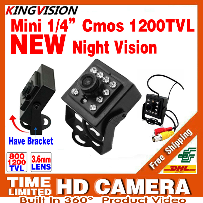 2017New Mini Night Vision Camera 1/3CMOS 1200TVL IR leds HD CCTV Security Surveillance Metal Bracket Indoor Color Analog Video hd 1200tvl cmos ir camera dome infrared plastic indoor ir dome cctv camera night vision ir cut analog camera security video cam