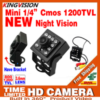 2017New Mini Night Vision Camera 1 3CMOS 1200TVL IR Leds HD CCTV Security Surveillance Metal Bracket