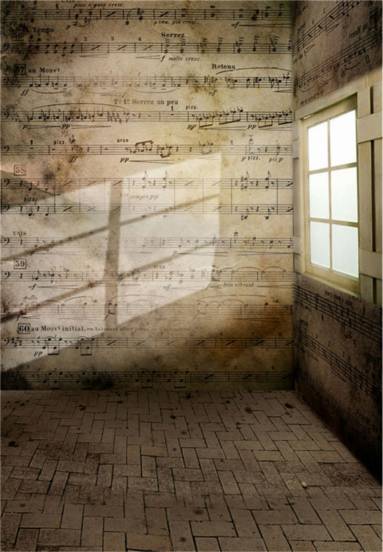 Retro Background Sheet Music Photo Studio Vintage Photography Backdrops Brick Wall Photo Props Vinyl 5x7ft or 3x5ft jiegq201 dark brown brick wall with white clock photography backdrops wedding background 200x300cm photo studio props fotografia