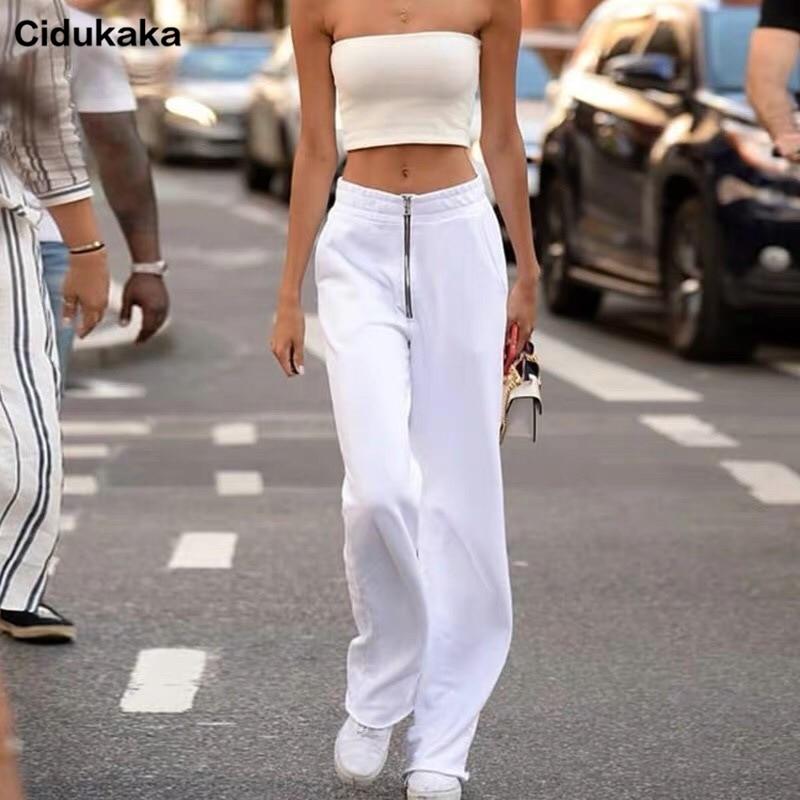 Cidukaka White Casual Loose Flare   Pants     Capris   Korean Sweatpants Women Elastic High Waist Ladies Trousers Zipper Pockets Party