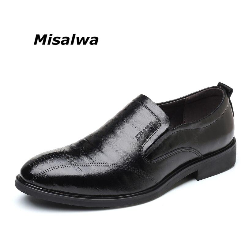 Misalwa Mâle Noir Brun De Mode Élégant Slip-on De Mariage Bureau D'affaires Richelieu Richelieus Derby Formelle Robe Hommes de Chaussures