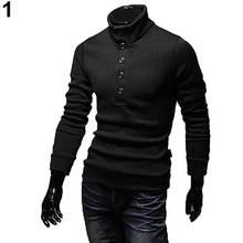 Men's Casual Button Solid Color Slim Fit Stand Collar Knitwear Pullover Sweater