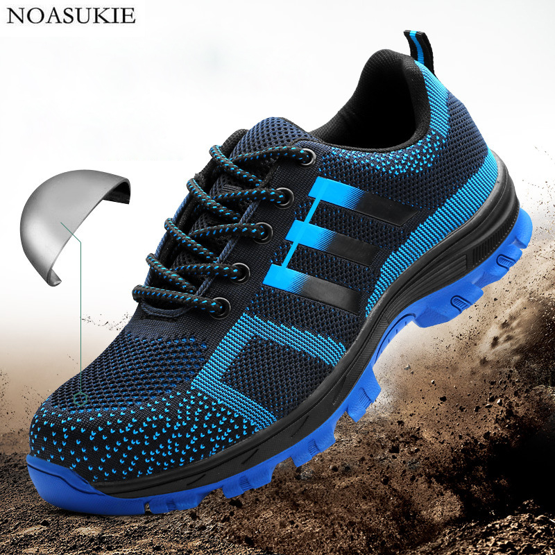 3 Colors Steel Safety Shoes Of Men Mesh Breathable Work Shoes Site Stripe Sneakers Anti Smashing Puncture Steel Toe Shoes in Work Safety Boots from Shoes
