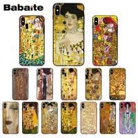 Babaite beso de Gustav Klim oro lágrimas pintura de árbol suave de TPU teléfono caso para Apple iPhone 7 6 6S Plus X XS X MAX 5 5S SE XR