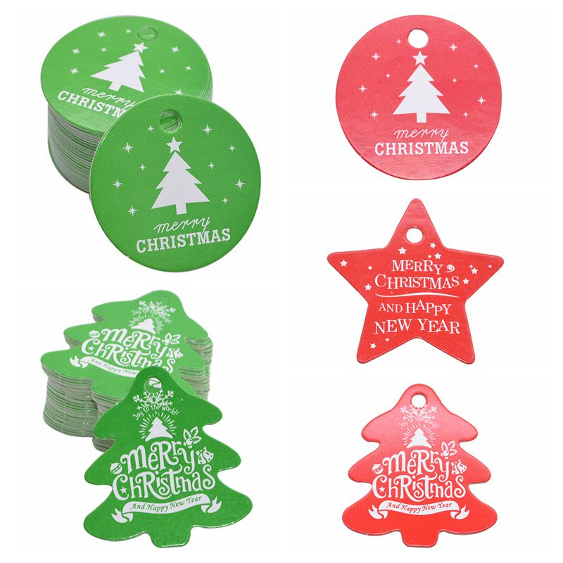 50/100pcs Green Red Gift Tags Christmas Tree Star Round Paper Label For Xmas Party DIY Candy Bag Packaging Tag Decor Supplies 8z