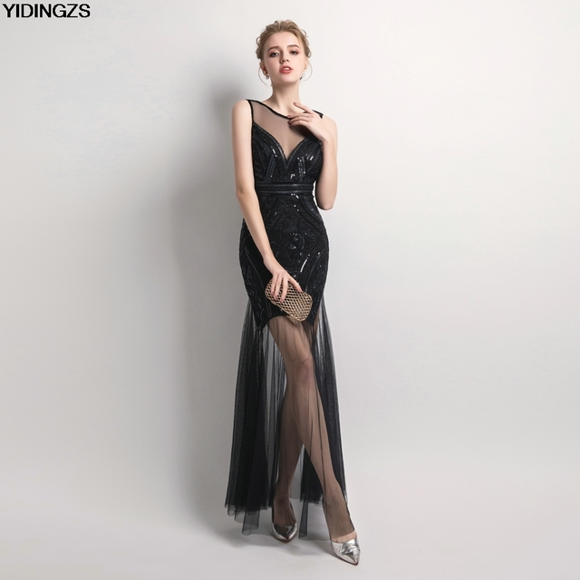 YIDINGZS Sequins Beading Evening Dresses Mermaid Long Formal Prom Party Dress New Style