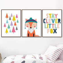 Abstract Cartoon Tree Quote Fox Animal Nordic Posters And Prints Wall Art Canvas Painting Pictures For Kids Room Home Decor