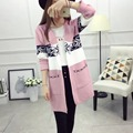 Mujeres Larga Chaqueta de 2016 Nueva Moda Otoño Invierno Estilo Coreano V-cuello de la Raya de La Manga Larga Impreso Suéter de Punto Outwear C576