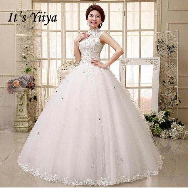 Free shipping YiiYa 2016 white high quality new red white wedding dress  bride Vestidos De Novia lace wedding gowns HS348 5d3a24162a34
