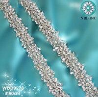 (1 YARD) Handgemaakte bruids kralen naaien crystal glas zilver rhinestone applique trim ijzer op voor trouwjurk WDD0278s