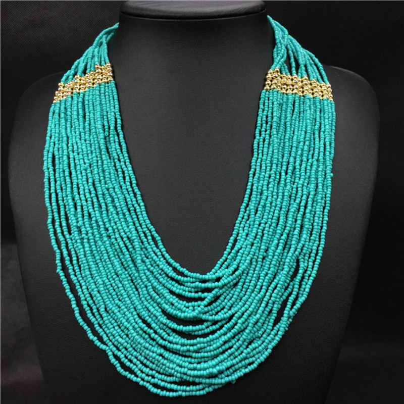 Afrian Bohemian Multilayer Beads Necklace Women Accessories Bead Ethnic Beaded Strand Long Necklaces Jewelry Droshipping