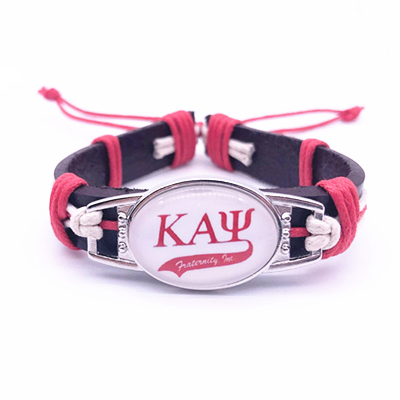 Custom Greek Letters Fraternity Kappaa Alpha Psi Charm Adjustable Genuine Leather Bracelets&Bangles Jewelry For Man Woman 1PCS
