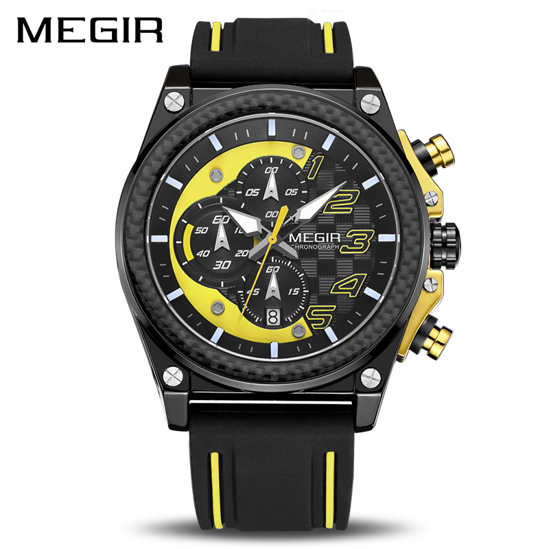 Creative MEGIR Chronograph Sport Watch Men Silicone Army Military Wrist Watches Clock Men Top Brand Luxury Relogio Masculino