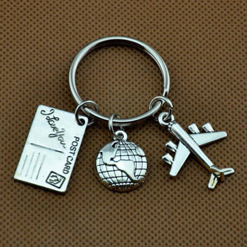 Travel Keyring,Globe And Airplane Keychain, Gift For Flight Attendant