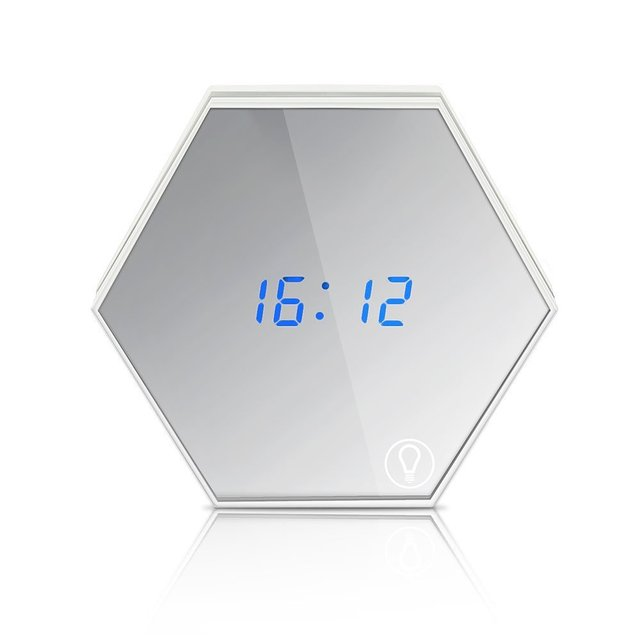 2016 New Arrival Wall Mountable Led Digital Alarm Clock with Multiple Alarms Calendar Thermometer Nightlight Silent Non Ticking