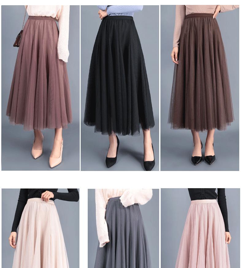 Jielur Autumn 3 Layers Princess Tulle Skirts Vintage Solid Color Mesh Women Skirt Pleated A-line Saia Female Jupe Tutu Skirts 8