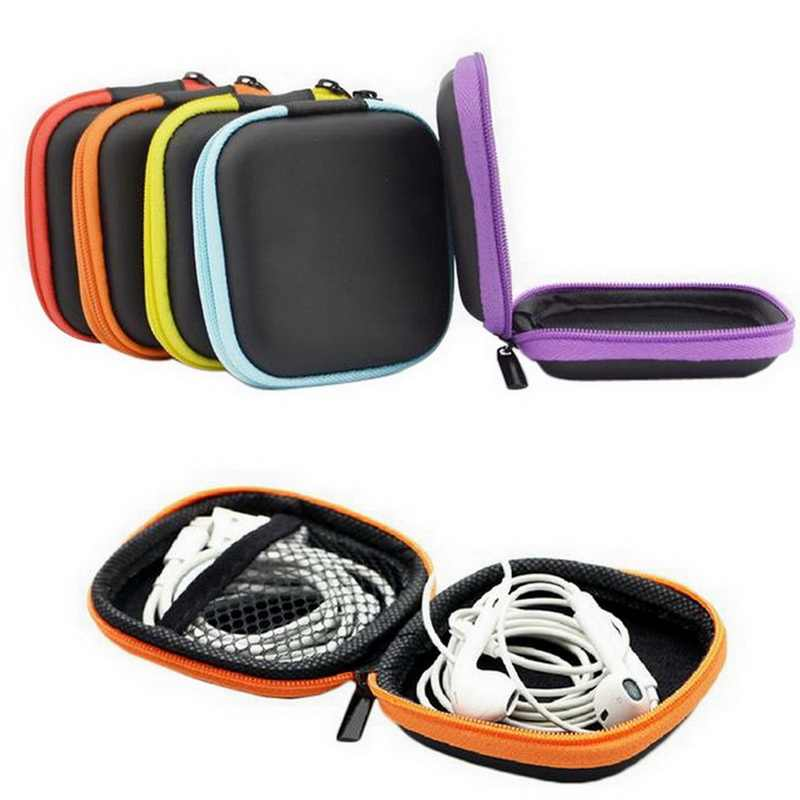 Lasperal Simple Round Shape EVA Earphone Storage Box Data Cables Changes Storage Box Pocket Storage Organizer Multicolor