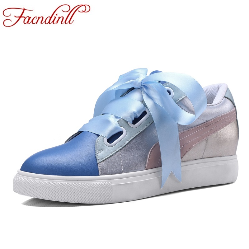 FACNDINLL new 2018 fashion spring women flats shoes genuine leather women casual shoes flat heel sneaker blue brown casual shoes facndinll genuine leather sandals for