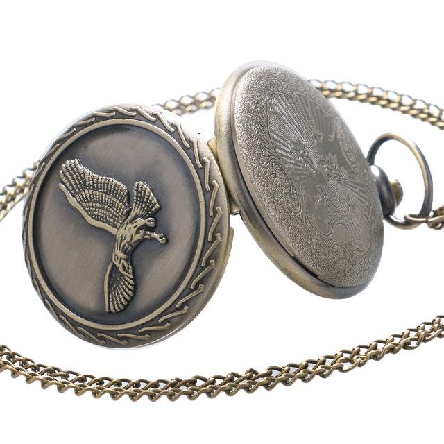 Antique Rétro Vintage Bronze Aigle Quartz Montre De Poche Collier Pendentif Chaîne Hommes Femmes
