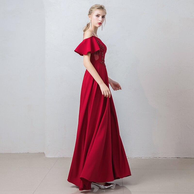 Burgund Satin Prom Kleider Spaghetti Strap Gala Jurken Boot ausschnitt Vestido De Festa Kurzarm Prom Kleid Frauen Abendkleid - 4