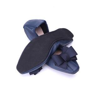 Image 2 - מותג מעצב Bowknot קונוס נעלי אישה שטוחה נעלי אלגנטי נוח ליידי אופנה כיכר ראש נשים סופר רך בלט דירות