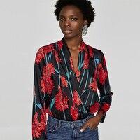 Для женщин Винтаж рубашка цветочный узор Средства ухода за кожей с длинным рукавом Комбинезоны для девочек с эластичной талией Ретро мода П...