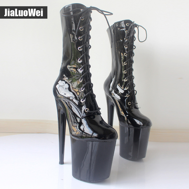 2016 New Style Winter Boots Extreme High Heels Platform Boots Lace Up Pole Dancing Ankle Boots Side Zip Black Plus Size BM-879