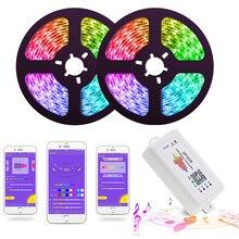 LED Streifen Lichter Led leuchten Sync zu Musik WS2811 Smart LED Streifen SMD 5050 Flexible RGB band Bluetooth Musik Controller + 12V Power