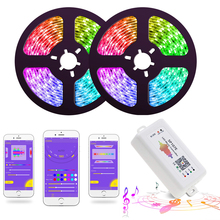 LED Strip Lights LED Lights Sync to Music WS2811 Smart LED Strip SMD 5050 Flexible RGB tape Bluetooth Music Controller+12V Power