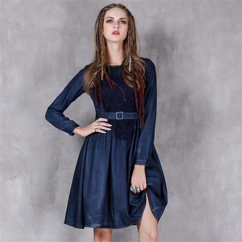 Printemps A ligne Denim Longues Femmes Taille Robes Blue Ceinture Automne Vintage Casual Plus Manches Robe Élégant Dark Doux Mince Nv08mnw