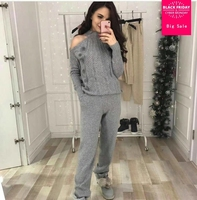 2019 Woolen and Cashmere Knitted warm Suit High Collar Strapless Knit Sweater + Mink Cashmere Trousers Leisure Two piece wj1729