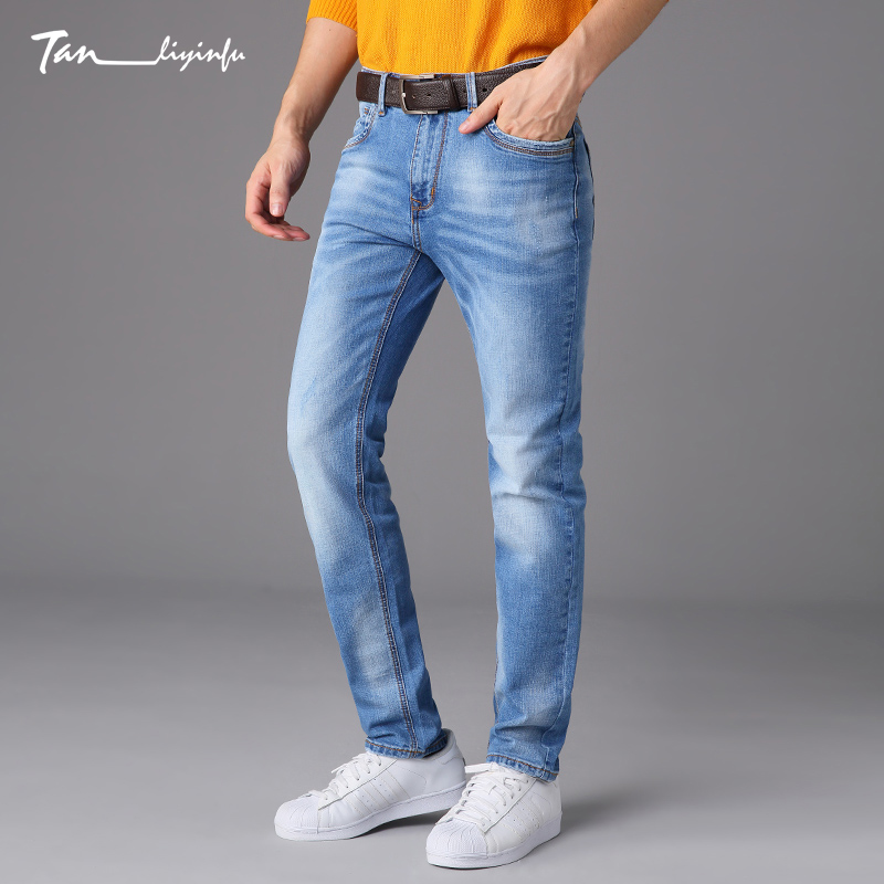 Tanliyinfu luxe Performance Blue Slim Straight Denim Men s Jeans exquisite Embroidery decoration pants Cotton 98