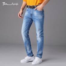 Tanliyinfu luxe Leistung Blau Dünne Gerade Denim herren Jeans exquisite Stickerei dekoration hosen Baumwolle 98% Lycra 2%