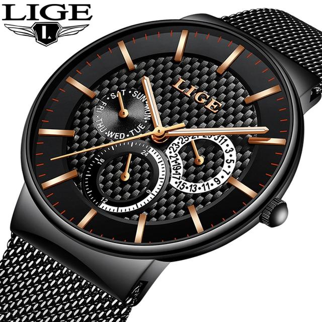 Lige Fashion Mens Watches Top Brand Luxury Quartz Watch Men Casual Slim Mesh Steel Date Waterproof Sport Watch Relogio Masculino by Lige
