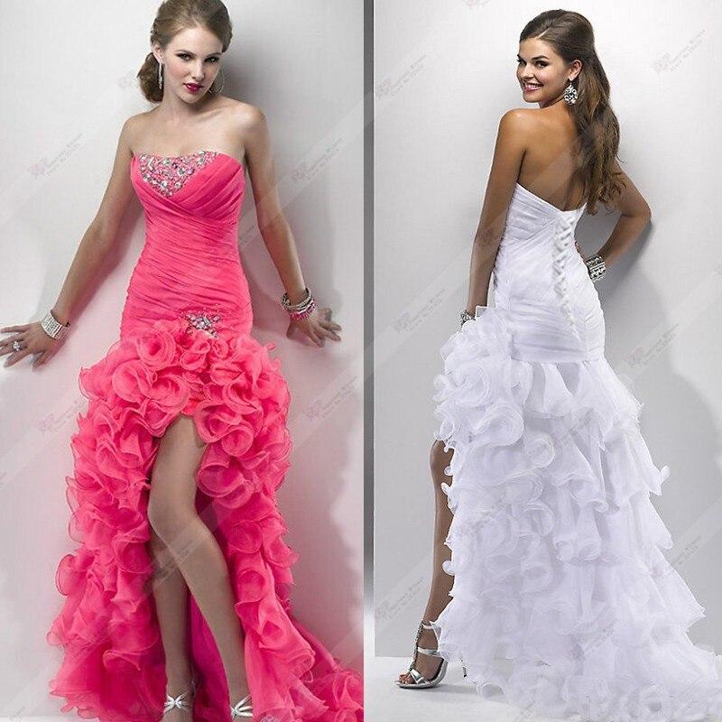 Vestido De Novia Strapless Sexy Wedding Dress Organza Beading Short front Long Back Sexy Bridal Gown