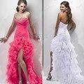 Strapless Sexy Custom Made Wedding Dress Rhinestone Crystal Organza Beading Short front and Long Back sexy wedding dress 2017
