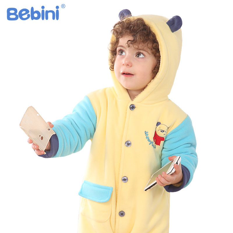 Bebini new winter thick Baby hoodied Romper Baby thicker cotton romper Kids Clothes Layette Down Jumpsuit Set with hat