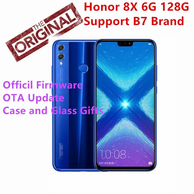 Huawei Honor 8X6 г 128 г телефон 6,5 дюймов Экран 3750 мАч Батарея Android 8,1 Octa Core 1,5 GHz смартфон двойной черный 20,0 + 2,0