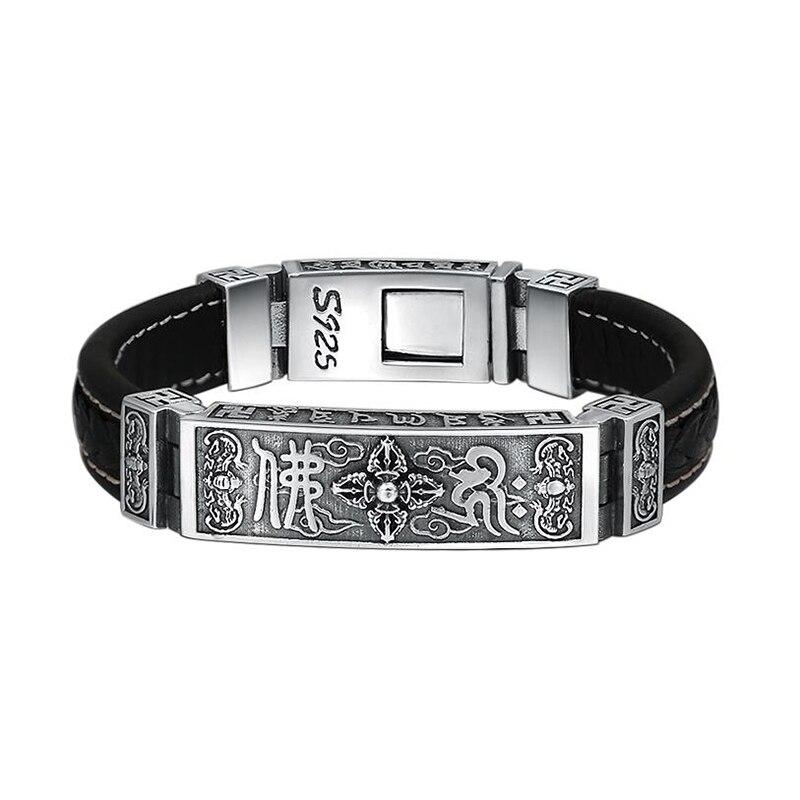 Buddha Buddhist Herz-sutra Armband Armreif 925 Sterling Silber und Reinem Rindsleder Schmuck Männer Frauen Armband 2018 Geschenk FB24
