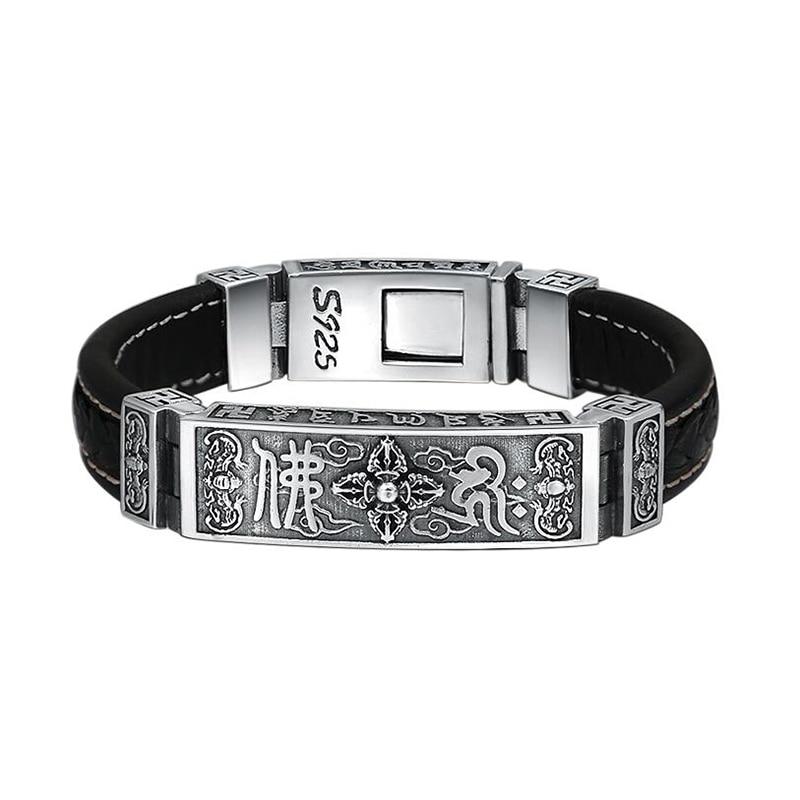 Bouddha bouddhiste coeur Sutra Bracelet Bracelet 925 en argent Sterling et pur cuir de vache bijoux hommes femmes Bracelet 2018 cadeau FB24-in Bracelets et joncs from Bijoux et Accessoires    1