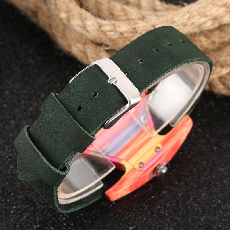 Unique Colorful Wood Watch Creative Triangle Shape Dial Hour Clock Women Quartz Leather Bracelet Watch Women's Wrist Reloj Mujer (32)