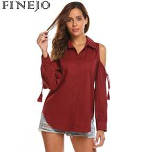 FINEJO Blouse Women Autumn Curved Hem Button Tie Up Casual Shirt Long Sleeve Hollow Out Shoulder New Fashion Slim Feminine Tops