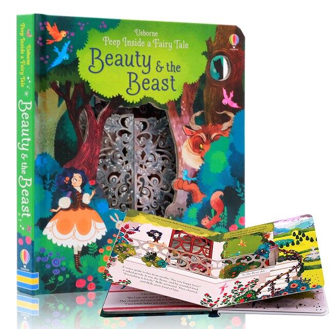 Inglés Educación libros ilustrados Peep Inside belleza y la bestia para bebé regalo de la primera infancia los niños la lectura de libros