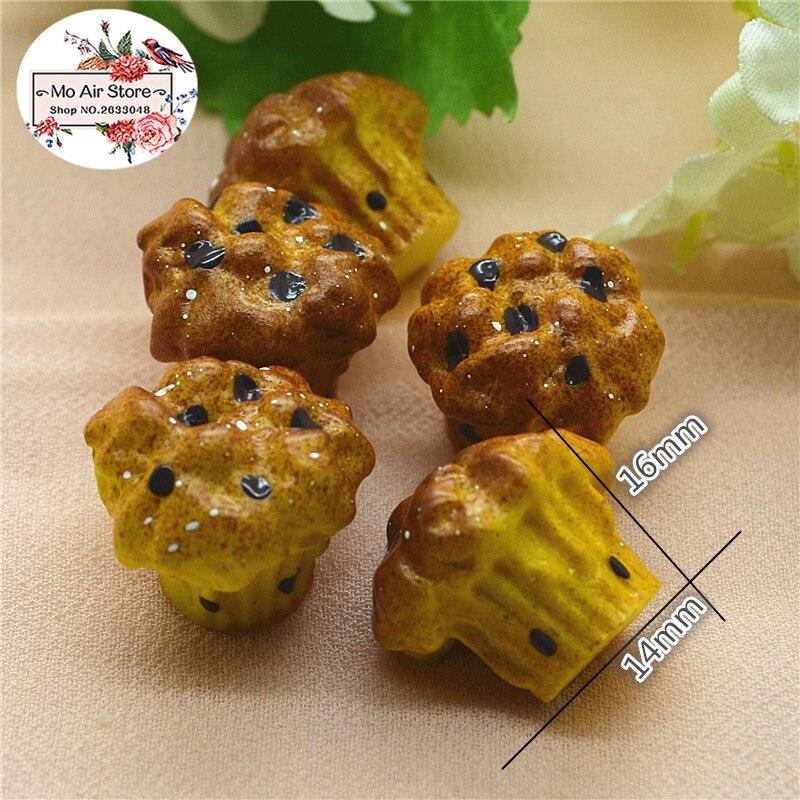 10pcs Resin 3D Flower Bread Resin Flatback Cabochon Miniature Food Art Supply Decoration Charm DIY Craft 19x60mm