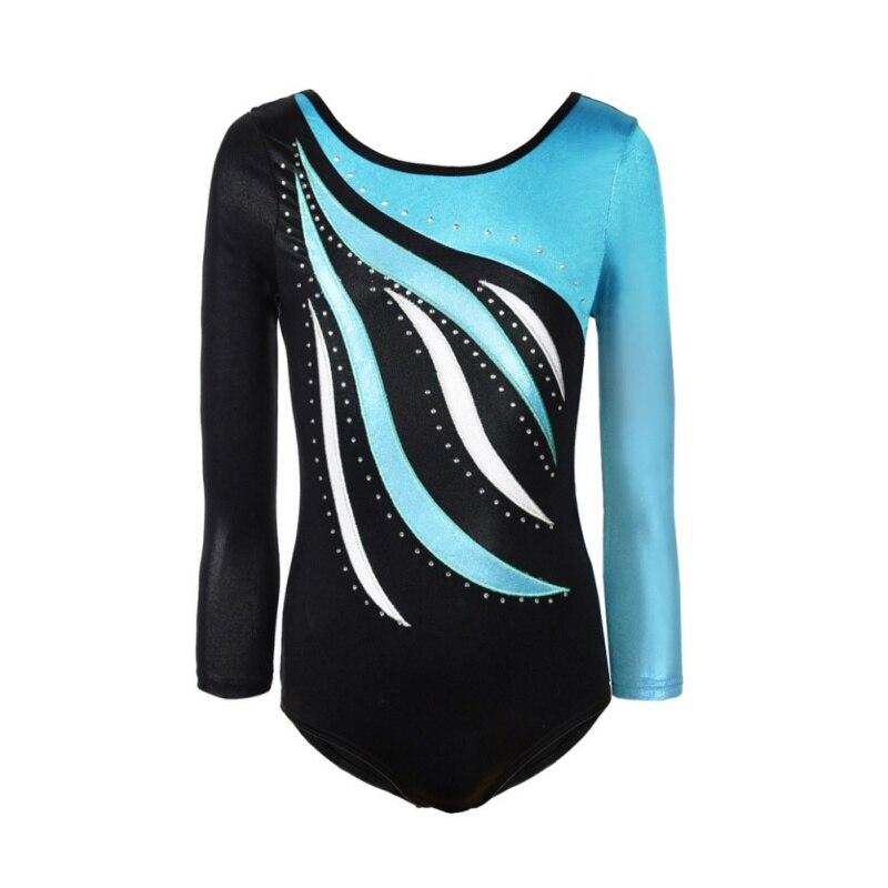 цены Ballet Laser Dress Clothes for Girls Long Sleeves Athletic Dance Leotards Dress Ballet Gymnastics Acrobatics for Kids Dance Wear